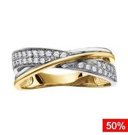 Glamour Pavee Set Diamond (0.19ct) Ring Yellow and White Gold