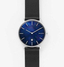 Skagen Hagen Slim Mother-of-Pearl Black Leather Watch