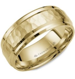 Hammered Yellow Gold Band