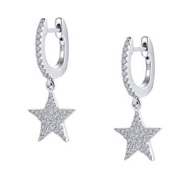 Lafonn Dangling Stars Lassaire Simulated Diamond Platinum Bonded Sterling Silver Earrings