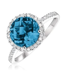 London Blue Topaz and Diamond 14K White Gold Ring