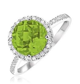 Peridot and Diamond 14K White Gold Ring
