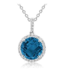 London Blue Topaz and Diamond 14K White Gold Pendant