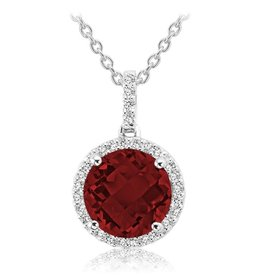 Garnet and Diamond 14K White Gold Pendant