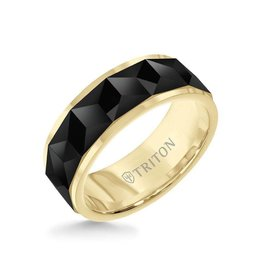 Triton 8MM Tungsten Carbide Ring - Faceted Chevron Pattern and Bevel Edge
