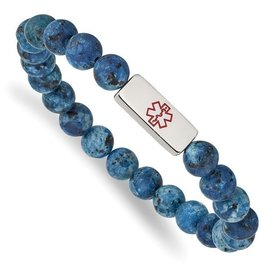 Stainless Steel Medical ID Plate Lapis Beaded Bracelet
