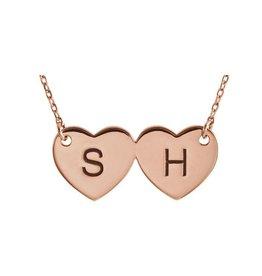"""14K Rose Double Heart Engravable 17"""" Necklace"""