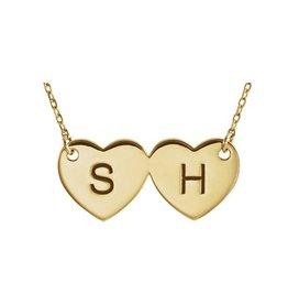"14K Yellow Double Heart Engravable 17"" Necklace"