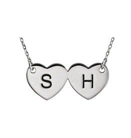 """14K White Double Heart Engravable 17"""" Necklace"""