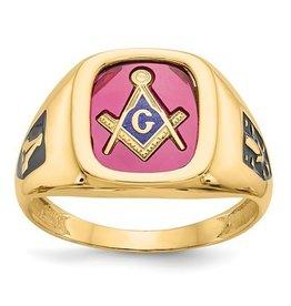 10k Red Acrylic Mens Masonic Ring
