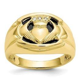 10k Men's Diamond and Black Onyx Claddagh Ring