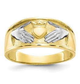 10k Gold and Rhodium Men's Claddagh Ring