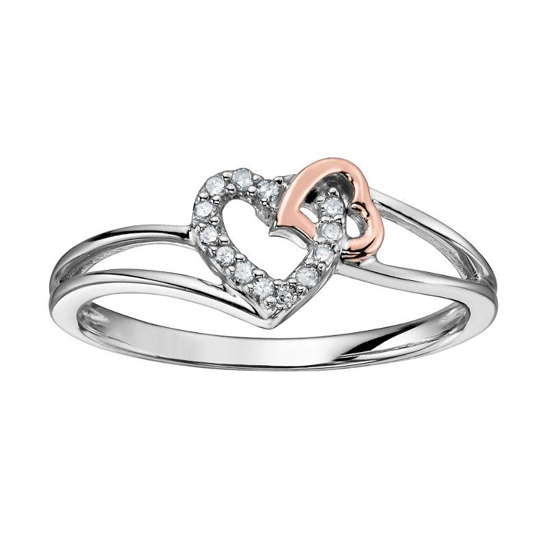Double Heart (0.05cttw) White and Rose Gold Diamond Ring