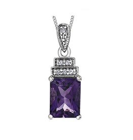 Amethyst & Diamond Pendant White Gold