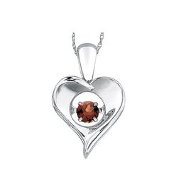 Dancing Ruby Birthstone (July) Sterling Silver Pendant