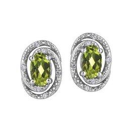 Peridot (August) and Diamond Earrings