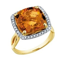 Citrine and Diamond Yellow Gold Ring
