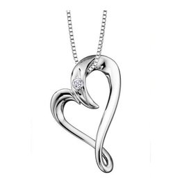 I am Canadian Sterling Silver (0.04ct) Canadian Diamond Heart Pendant