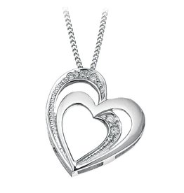White Gold (0.03cttw) Diamond Heart Pendant
