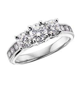Three Stones (0.33ct) Diamonds White Gold Ring