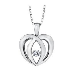 Sterling Silver (0.05ct) Dancing Diamond Pendant