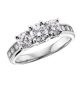 Three Stones (0.75ct) Diamonds White Gold Ring