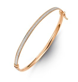 Glam Bangle Rose and White Gold with Textured Centre