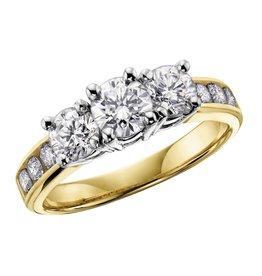 Three Stones (0.33ct) Diamonds Yellow Gold Ring