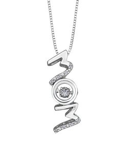 Sterling Silver (0.04cttw) Dancing Diamond Mom Pendant