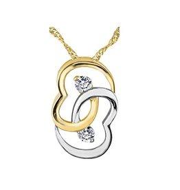 Yellow & White Gold (0.10cttw) Diamond Double Heart Pendant