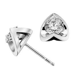 Half Moon Diamond Earrings (0.15ct) 18K White Gold