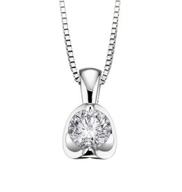 Half Moon Diamond Pendant (0.20ct) 18K White Gold