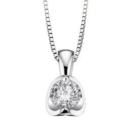 Half Moon Diamond Pendant (0.25ct) 18K White Gold
