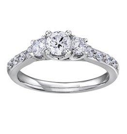 Three Stone (0.75ct) Diamond White Gold Ring