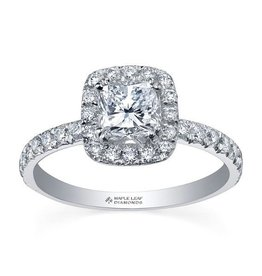 Maple Leaf Diamonds Halo Cushion (1.00ct) Canadian Diamond Ring White Gold