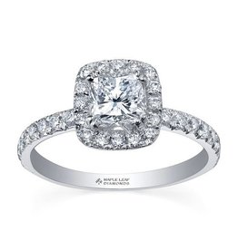 Maple Leaf Diamonds Halo Cushion (0.85ct) Canadian Diamond Ring White Gold