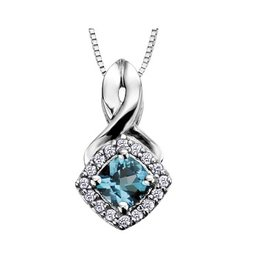 Blue Topaz & Diamond Pendant 10K White Gold