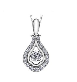 White Gold (0.27cttw) Dancing Diamond Pendant