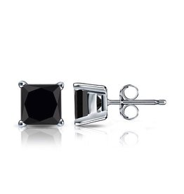 Studs Square Black CZ (6mm)