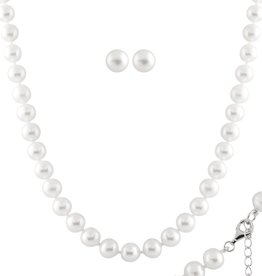 Pearl (7.5-8mm) Necklace and Earring Set