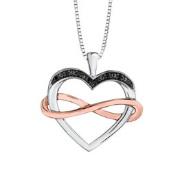 White & Rose Gold (0.02cttw) Black Diamond Pendant