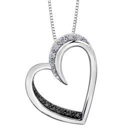 White Gold (0.09ct) Diamond and Black Diamond Pendant
