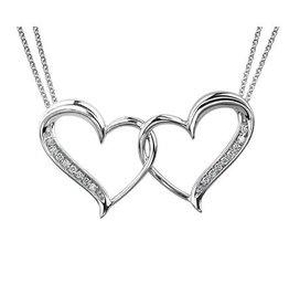 Sterling Silver (0.08cttw) Diamond Double Heart Pendant