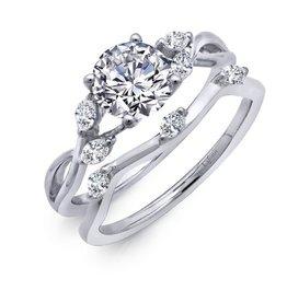 Lafonn Vine Leaf Wedding Set Sterling Silver Platinum Bonded
