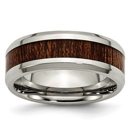 Brown Wood Inlay Stainless Steel Band (8mm)