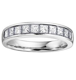 White Gold (0.50ct) Princess Cut Diamond Band