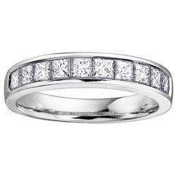 White Gold (1.00ct) Princess Cut Diamond Band