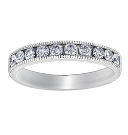 White Gold (0.25ct) Channel Set Diamond Band with Milligrain Edge