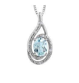 Blue Topaz & Diamond Pendant Sterling Silver (December Birthstone)