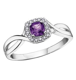 Amethyst & Diamond February Birhstone Ring White Gold